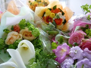 ステキな花束に囲まれて